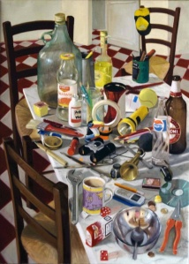Clutter on a Table.  50cm x 70cm, oil on linen.