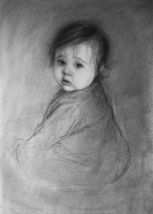 Winnie 12 months. Charcoal on paper.