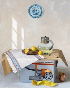 Still Life with Lemons and Hoover Box.  70cm x 100cm, oil on canvas