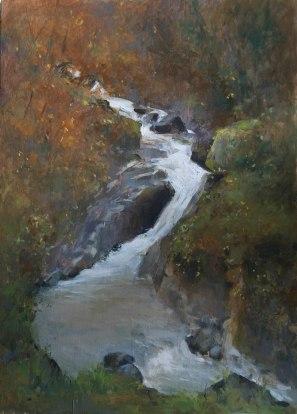River in Winter.  oil on panel, 20cm x 30cm