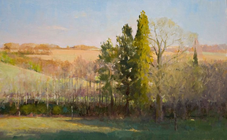 Afternoon Light on Marriage Hill.  Oil on panel, 20cmx 30cm.