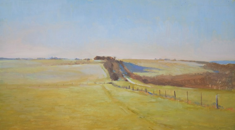 A Frosty Morning on the Lambourn Downs at Sheepdrove Farm. Oil on wood, 20cm x 30cm.
