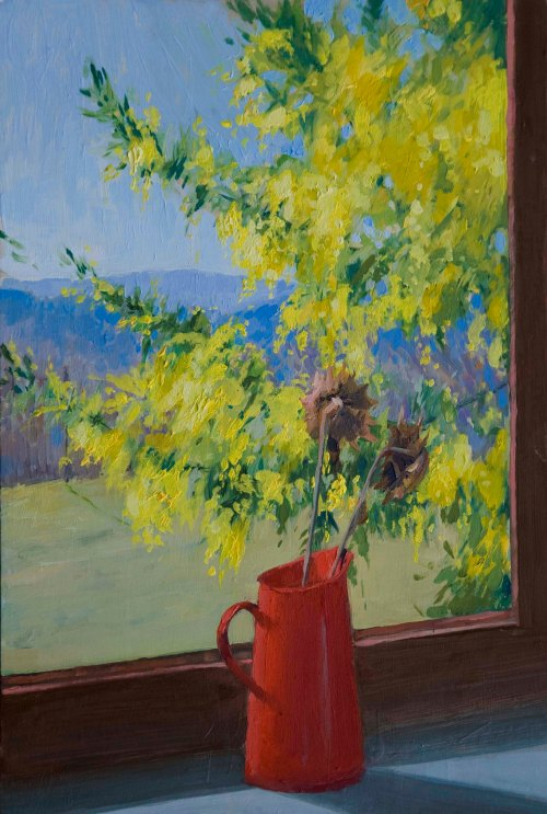 Mimosa and Sunflowers. Oil on board, 20cm x 30cm.