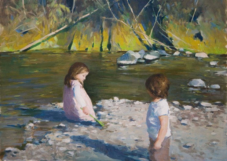Down by the River.  Oil on board, 25cm x 35cm.
