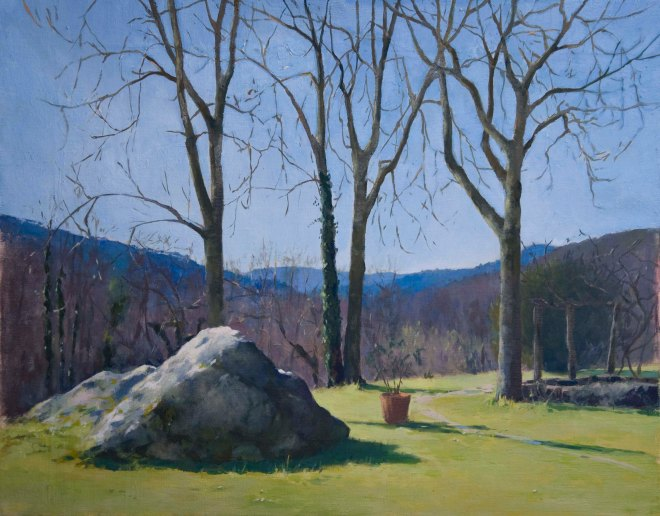 Rock and Trees.  Oil on linen, 40cm x 50cm.