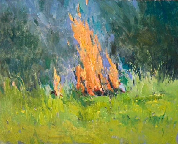 Catching Fire.  Oil on Board, 25cm x 30cm