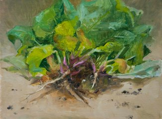 Spinach. 15cm x 20cm, oil on board.