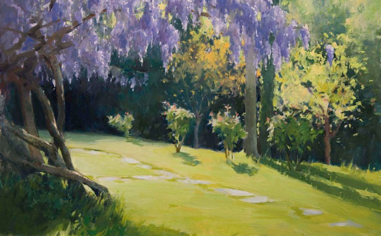 Wisteria.  Oil on board, 26cm x 42cm