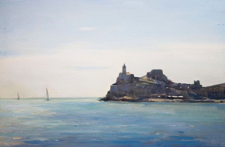 Chiesa di San Pietro, Porto Venere. Oil on Board, 20cm x 30cm.