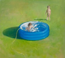 Paddling Pool 2015. Oil on Board, 30cm x 30cm.