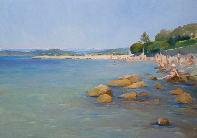 Punta Secca, Portovenere. 25cm x 35cm, oil on board.