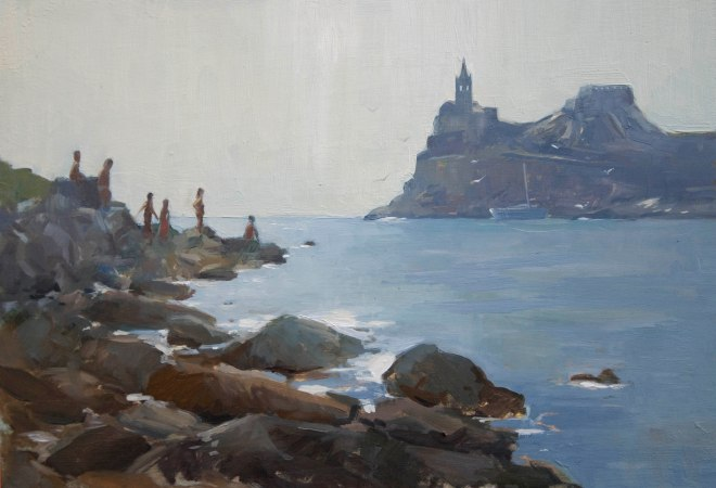 Sunbathers, Porto Venere. Oil on boad, 25cm x 35cm.