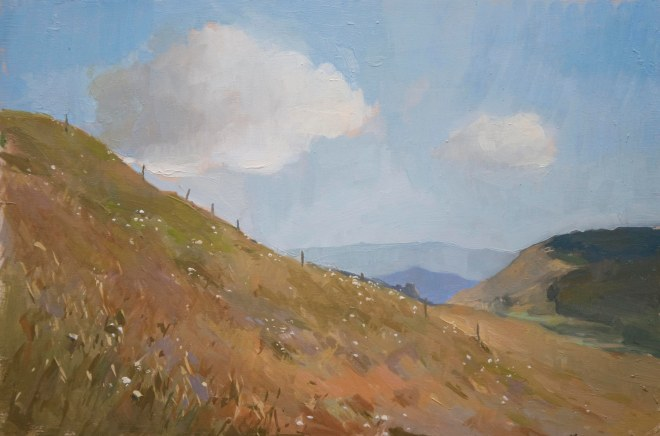 At the Top of the Hill. 20cm x 30cm, oil on board.
