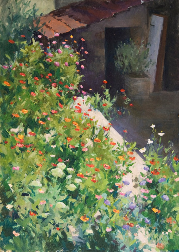 The Back Terrace. Oil on Board, 25cm x 35cm.