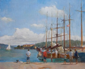 Valdettaro Classic boats, 40cm x 50cm oil on linen.