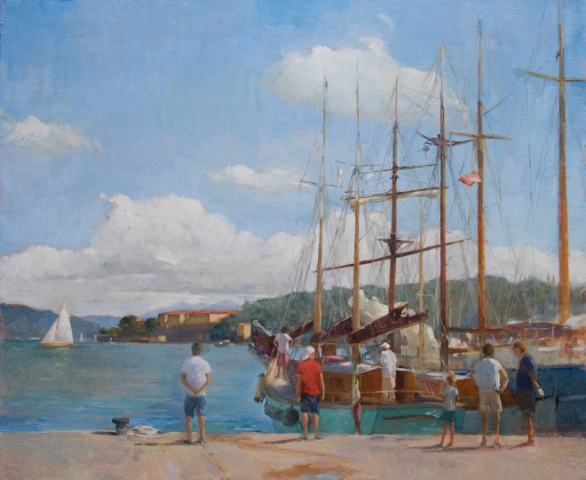Valdettaro Classic boats, 40cm x 50cm oil on linen.