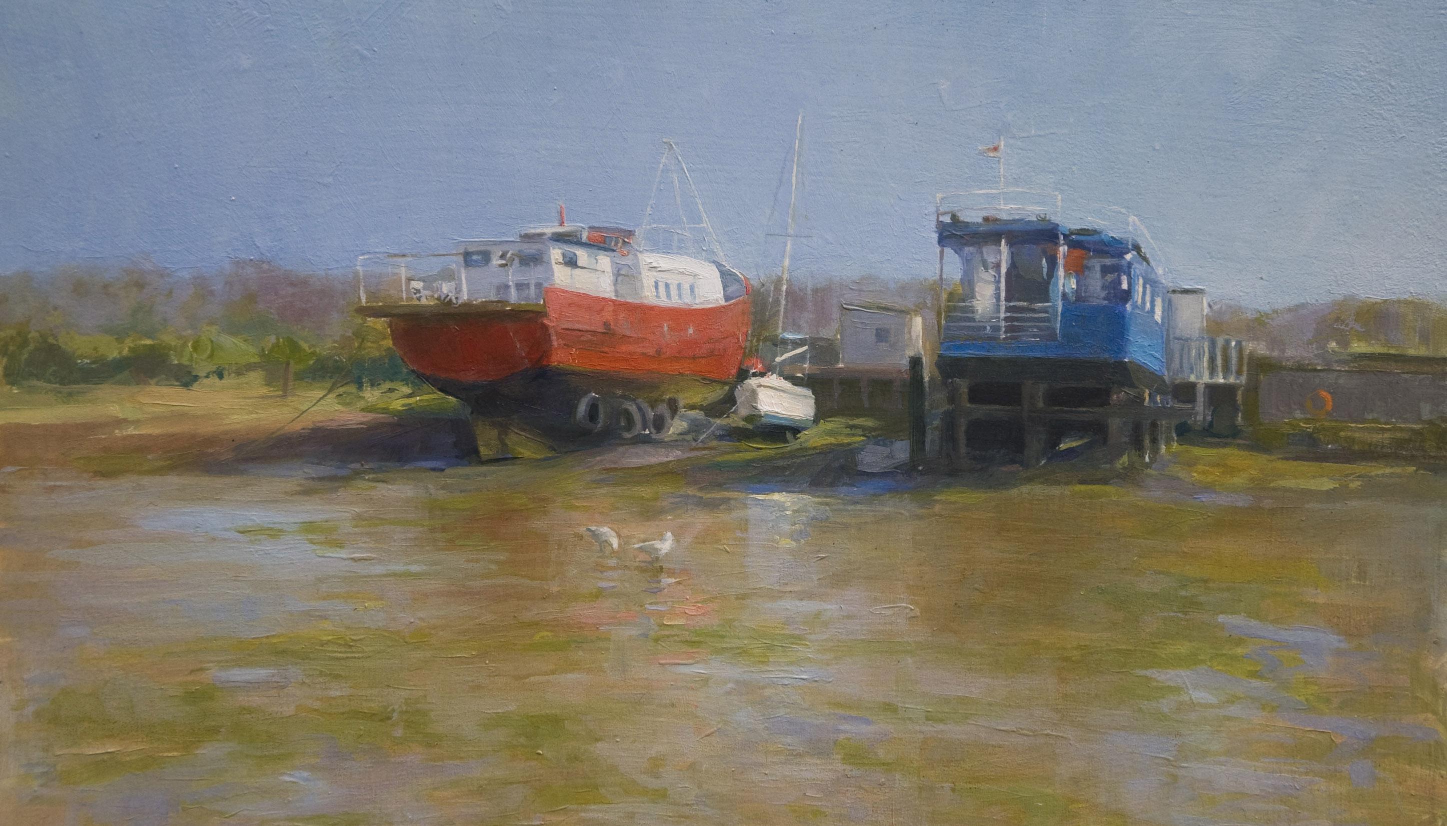 houseboatsbembridge_annadennis_oilpainting